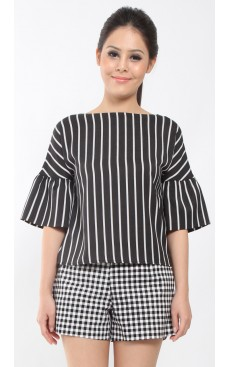 Bubble Sleeve Top - Black with White Stripe