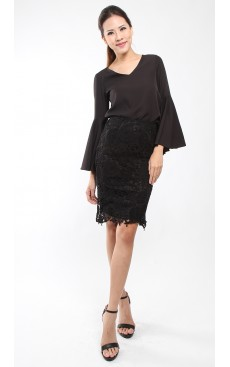 Crochet Lace Pencil Skirt - Black