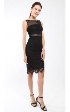 Lace Pencil Dress - Black