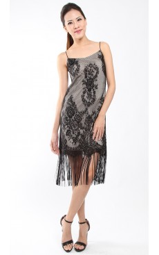 Tassel Slip Lace Dress - Black