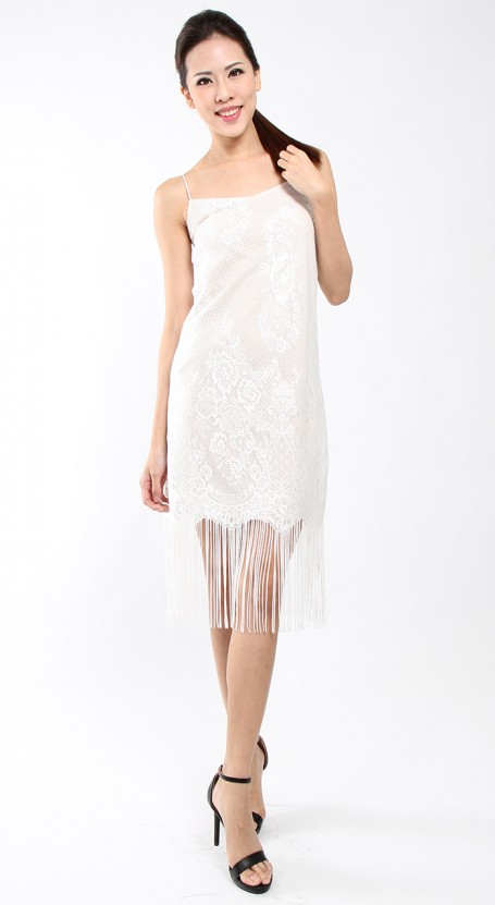 Tassel Slip Lace Dress - White