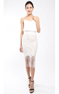 Lace Tassel Pencil Skirt - White