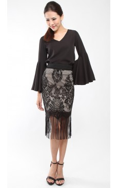 Lace Tassel Pencil Skirt - Black