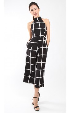 Halter Neck Midi Jumpsuit - Black with White Grid