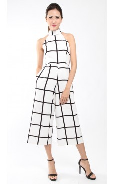 Halter Neck Midi Jumpsuit - White with Black Grid