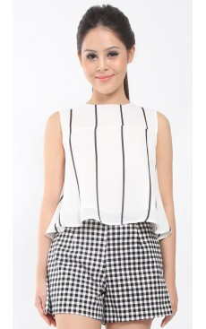 Flare Crop Top - White with Black Stripe