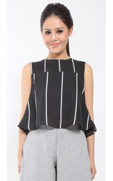 Flare Crop Top - Black with White Stripe