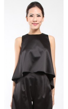 Dipped Hem Flare Top - Black