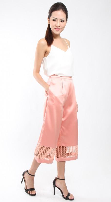 Lace Trim Flare Culotte - Apricot Blush