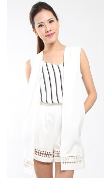 Lace Trim Vest Coat - White