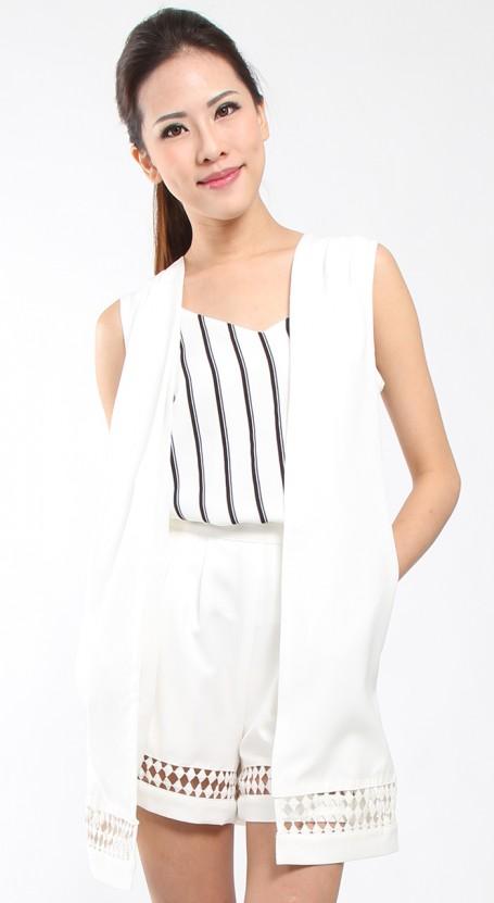 Lace  Trim Vest Coat - White
