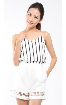 Lace Trim Flare Shorts - White