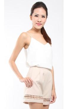 Lace Trim Flare Shorts - Sandshell