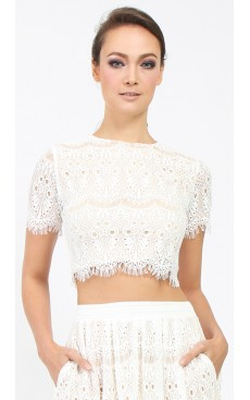 Scallop Lace Crop Top - White
