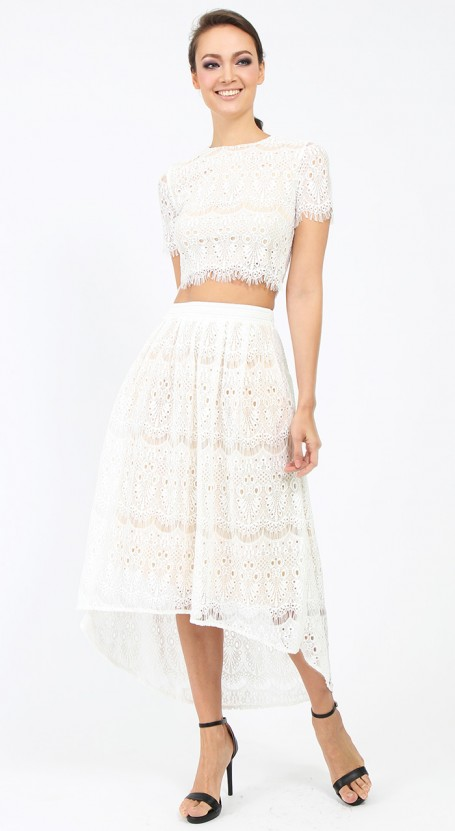 Lace High Low Skirt - White