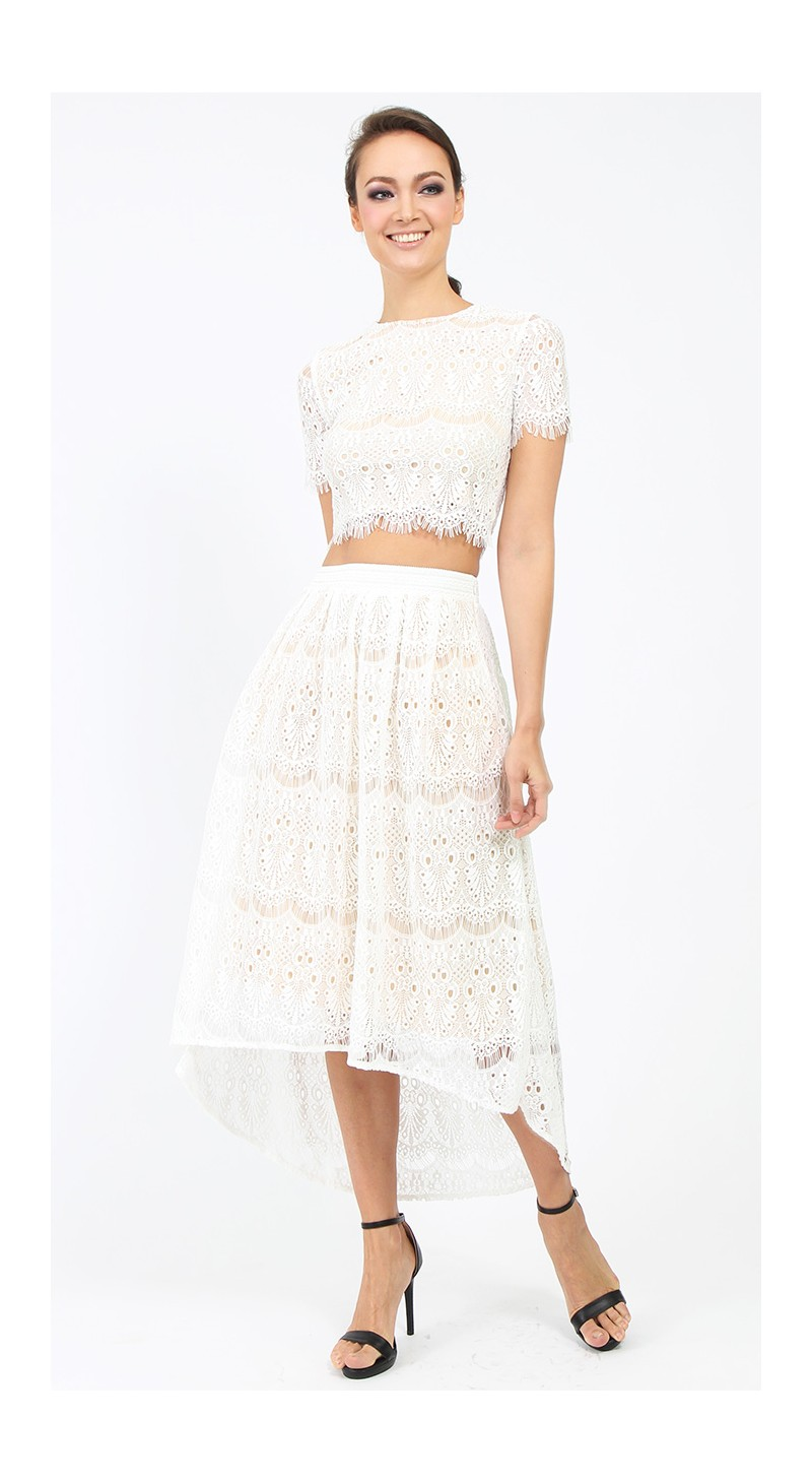 lace high low skirt white