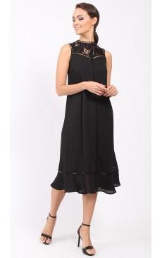 Victorian Long Midi Dress - Black