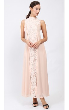 Victorian Maxi Dress - Pale Peach