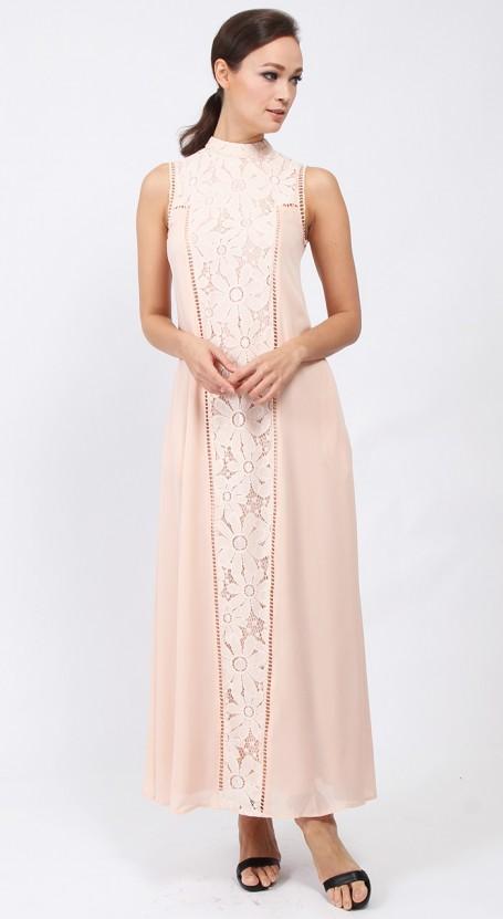 Victorian Maxi Dress - Pale Peach
