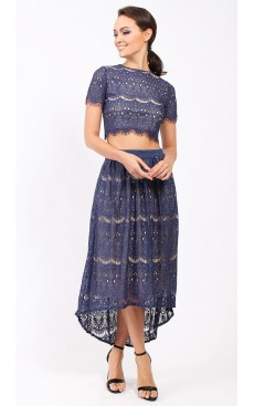 Lace High Low Skirt - Navy Blue