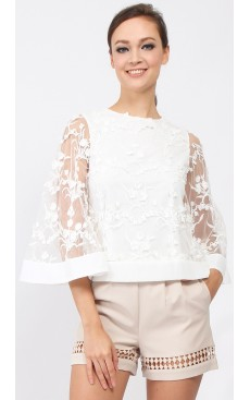 Flare Sleeve Tulle Lace Top - White