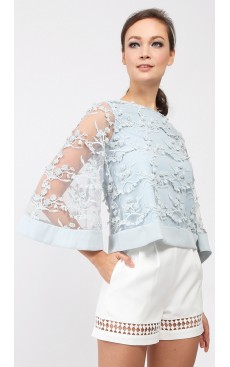 Flare Sleeve Tulle Lace Top - Misty Blue