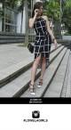 Tulip Midi Dress - Black with White Grid