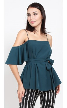 Asymmetrical Cold Shoulder Top - Deep Teal