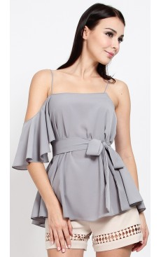 Asymmetrical Cold Shoulder Top - Ash Grey