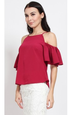 Cold Shoulder Top - Cranberry