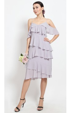 Ruffle Tiered Midi Dress - Misty Lilac