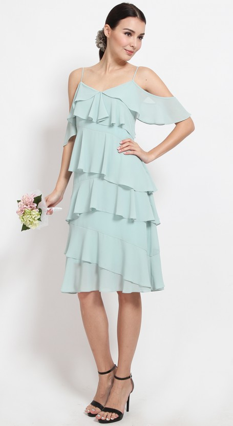 Ruffle Tiered Midi Dress - Opal Blue
