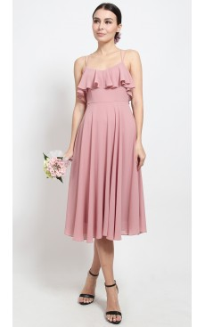 Ruffle Skater Midi Dress - Mellow Rose