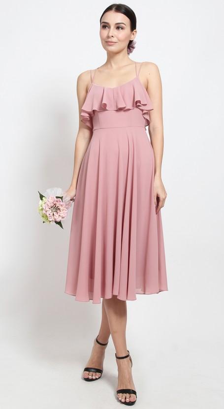Ruffle Skater Midi Dress - Mellow Rose