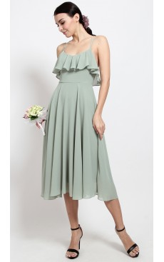 Ruffle Skater Midi Dress - Mist Green
