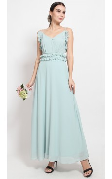 Frill Cami Maxi Dress - Opal Blue