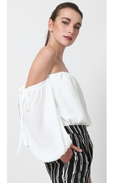 Off Shoulder Bubble Sleeve Top - White