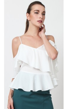 Ruffle Cold Shoulder Top - White