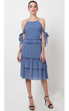 Side Ties Frill Midi Dress - Moonlight Blue