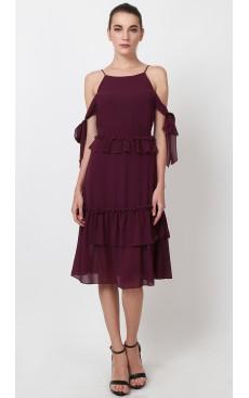 Side Ties Frill Midi Dress - Purple Wine