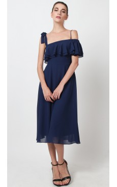 Toga Off Shoulder Midi Dress - Blue Indigo