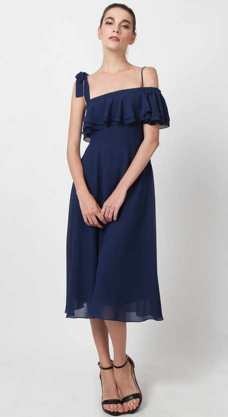 32985ad6fa78 Toga Off Shoulder Midi Dress - Blue Indigo