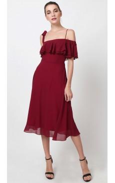 Toga Off Shoulder Midi Dress - Bordeaux