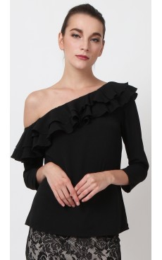 Toga Ruffle Top - Black
