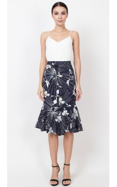 Bow Mermaid Skirt - Navy with White Hibiscus