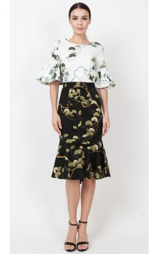 Bow Mermaid Skirt - Black with Green Fan Palm
