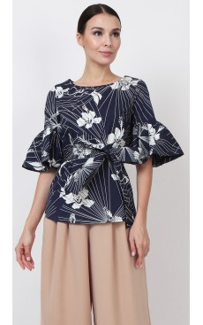 Trumpet Sleeve Top - Navy with White Hibiscus