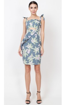 Frill Peekaboo Dress - Blue Floral