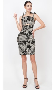 Frill Peekaboo Dress - Black Floral