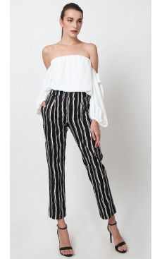 Pegged Pants - Black Stripe